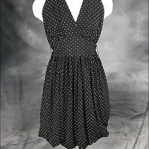 BCBG Halter Dress- Polka Dot Bubble Hem-Size Small